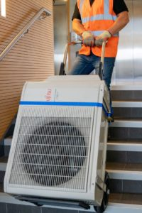 air conditioning unit on the stairs