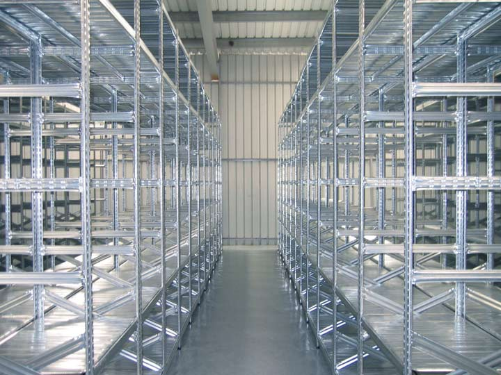 galvanised slot-together shelving system