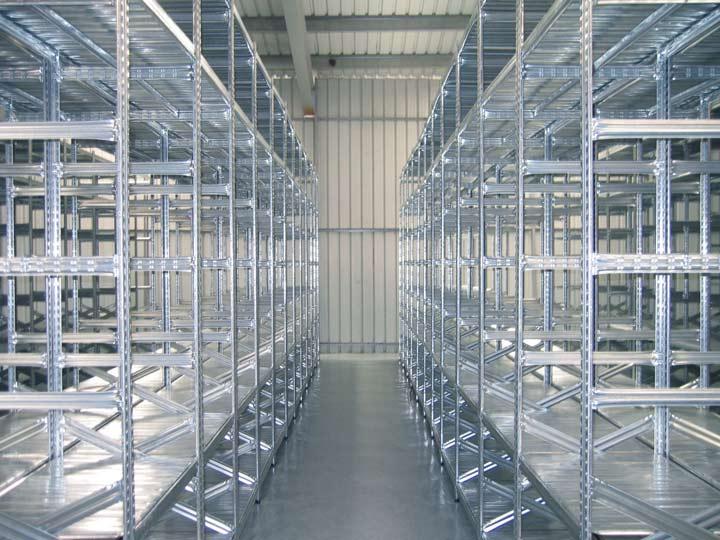 galvanised slot-together shelving system